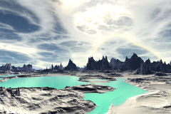 3D rendered fantasy alien planet. Rocks and lake. Alien Planet - 3D Rendered Computer Artwork. Rocks and  lake Stock Photography