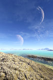 3D rendered fantasy alien planet. Rocks and lake Royalty Free Stock Image
