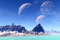 3D rendered fantasy alien planet. Rocks and lake Stock Photography
