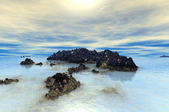 3D rendered fantasy alien planet. Rocks and lake Stock Images
