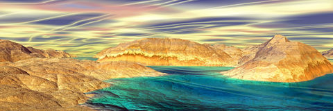 3D rendered fantasy alien planet. Rocks and lake. Panorama Royalty Free Stock Images