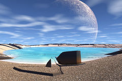3D rendered fantasy alien planet. Rocks and moon Stock Photo