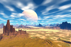 3D rendered fantasy alien planet. Rocks and  moon Royalty Free Stock Image