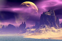 3D rendered fantasy alien planet. Rocks and  moon. Alien Planet - 3D Rendered Computer Artwork. Rocks and  moon Royalty Free Stock Image