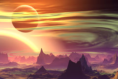3D rendered fantasy alien planet. Rocks and  moon. Alien Planet - 3D Rendered Computer Artwork. Rocks and  moon Royalty Free Stock Photos