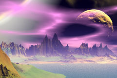 3D rendered fantasy alien planet. Rocks and  moon. Alien Planet - 3D Rendered Computer Artwork. Rocks and  moon Royalty Free Stock Photo
