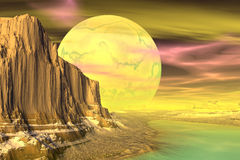 3D rendered fantasy alien planet. Rocks and  moon. Alien Planet - 3D Rendered Computer Artwork. Rocks and  moon Stock Photos