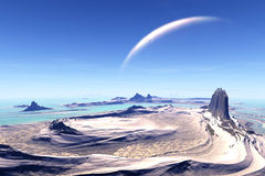 3D rendered fantasy alien planet. Rocks and  moon Royalty Free Stock Images