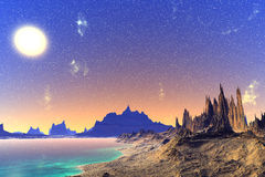 3D rendered fantasy alien planet. Rocks and  moon Royalty Free Stock Photo