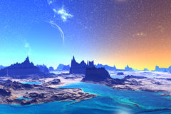 3D rendered fantasy alien planet. Rocks and  moon Royalty Free Stock Photos