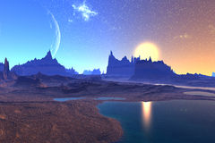 3D rendered fantasy alien planet. Rocks and  moon Stock Image
