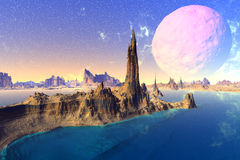 3D rendered fantasy alien planet. Rocks and  moon. Alien Planet - 3D Rendered Computer Artwork. Rocks and  moon Royalty Free Stock Photography