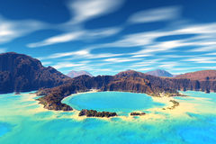 3D rendered fantasy alien planet. Rocks,sea and atoll Stock Photography