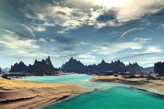 3D rendered fantasy alien planet. Rocks and sea Stock Images