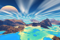 3D rendered fantasy alien planet. Rocks and sea Royalty Free Stock Photography