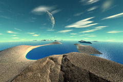 3D rendered fantasy alien planet. Rocks and sea. Alien Planet - 3D Rendered Computer Artwork. Rocks and sea Royalty Free Stock Photo