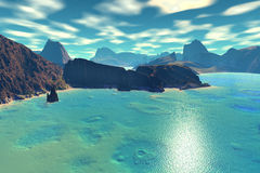 3D rendered fantasy alien planet. Rocks and sea Stock Image