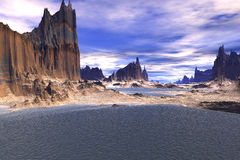 3D rendered fantasy alien planet. Rocks and sea Royalty Free Stock Images