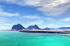 3D rendered fantasy alien planet. Rocks and sea Royalty Free Stock Photo