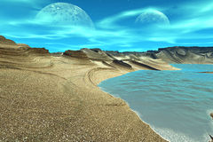 3D rendered fantasy alien planet. Rocks and sea Stock Photo