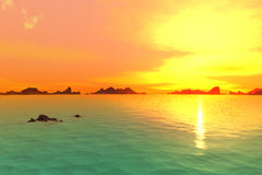 3D rendered fantasy alien planet. Rocks and sea Royalty Free Stock Photos