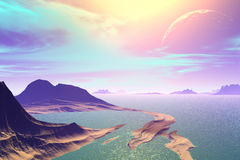 3D rendered fantasy alien planet. Rocks and sea Stock Photos