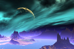 3D rendered fantasy alien planet. Rocks and sea Stock Photography