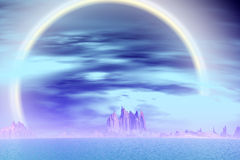 3D rendered fantasy alien planet. Rocks and sea Royalty Free Stock Image