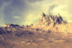 3D rendered fantasy alien planet. Rocks and sky Stock Photo