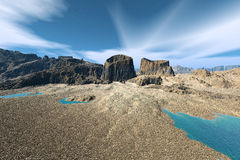3D rendered fantasy alien planet. Rocks and sky Stock Photos