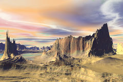 3D rendered fantasy alien planet. Rocks and sky Stock Photography