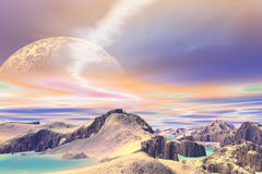 3D rendered fantasy alien planet. Rocks and sky Royalty Free Stock Images