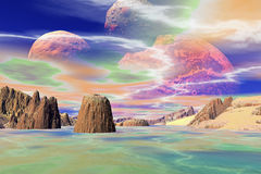 3D rendered fantasy alien planet. Rocks and sky. Alien Planet - 3D Rendered Computer Artwork. Rocks and sky Stock Photo