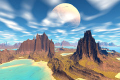 3D rendered fantasy alien planet. Rocks and sky. Alien Planet - 3D Rendered Computer Artwork. Rocks and sky Stock Photos