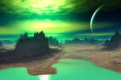 3D rendered fantasy alien planet. Rocks and sky. Alien Planet - 3D Rendered Computer Artwork. Rocks and sky Stock Images