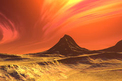 3D rendered fantasy alien planet. Rocks and sky Royalty Free Stock Photo