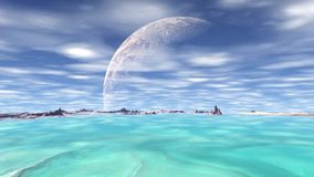 3D rendered fantasy alien planet. Rocks and sky. Alien Planet - 3D Rendered Computer Artwork. Rocks and sky vector illustration