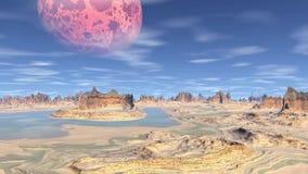 3D rendered fantasy alien planet. Rocks and sky. Alien Planet - 3D Rendered Computer Artwork. Rocks and sky stock illustration
