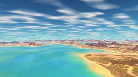 3D rendered fantasy alien planet. Rocks and sky. Alien Planet - 3D Rendered Computer Artwork. Rocks and sky royalty free illustration