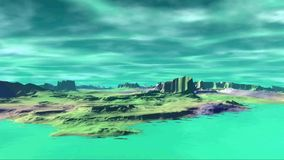 3D rendered fantasy alien planet. Rocks and sky stock video footage