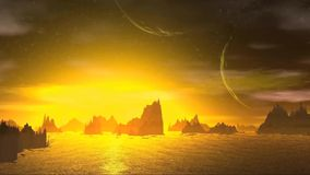 3D rendered fantasy alien planet. Rocks and sky stock video