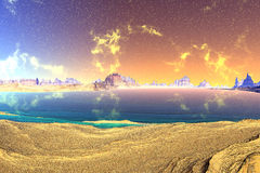 3D rendered fantasy alien planet. Rocks and sky Royalty Free Stock Photography