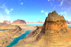 3D rendered fantasy alien planet. Rocks and sky Royalty Free Stock Photos