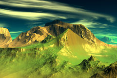 3D rendered fantasy alien planet. Rocks and sky Stock Image