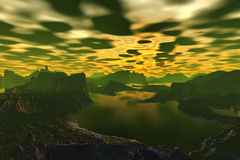 3D rendered fantasy alien planet. Rocks and  sunset. Alien Planet - 3D Rendered Computer Artwork. Rocks and  sunset Stock Photo
