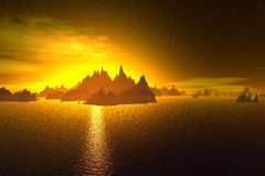 3D rendered fantasy alien planet. Rocks and  sunset Stock Photo