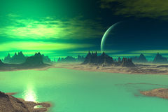 3D rendered fantasy alien planet. Rocks and  sunset. Alien Planet - 3D Rendered Computer Artwork. Rocks and  sunset Royalty Free Stock Photos