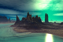 3D rendered fantasy alien planet. Rocks and  sunset. Alien Planet - 3D Rendered Computer Artwork. Rocks and  sunset Royalty Free Stock Photo