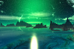 3D rendered fantasy alien planet. Rocks and  sunset Royalty Free Stock Images
