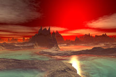 3D rendered fantasy alien planet. Rocks and  sunset Stock Photos